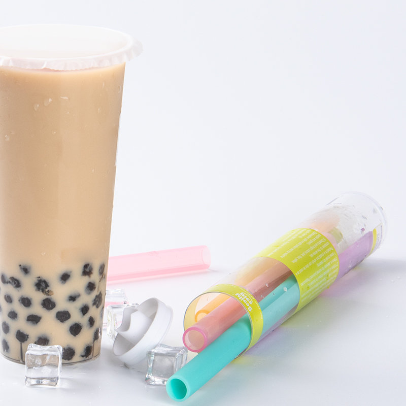 Silicone milk tea straw solid color